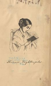 Line drawing portrait of a young woman reading a book.