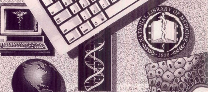 Detail from The illustrated cover of an annual report featuring a laptop, keyboard, dna strand, globe and NLM seal.