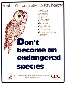Visual image is an illustration of an owl. A list of communicable diseases appears to the right of the owl