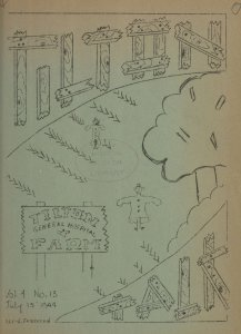 A hand drawn cover of a hospital newsletter featuring a garden.