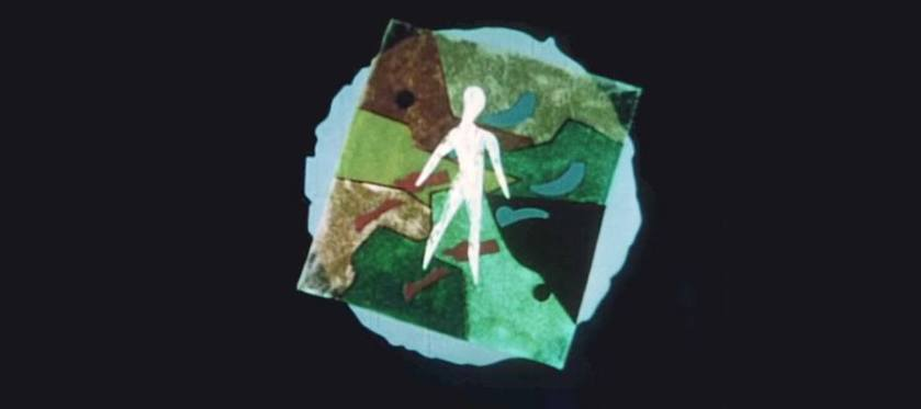 A screenshot form an animated film showig a human figure over an earthtone abstract tile over a blue circle.