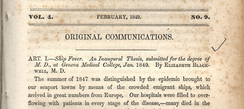 Detail from a publication by Dr. Elizabeth Blackwell.