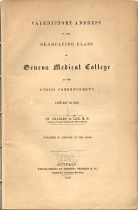 Title page of Charles A. Lee's Valedictory Address to the Graduating Class of Geneva Medical College at the Public Commencement, January 23, 1849.