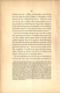 Page 28 of Charles A. Lee's Valedictory Address to the Graduating Class of Geneva Medical College featuring his comments on Elizabeth Blackwell receiving her medical degree.