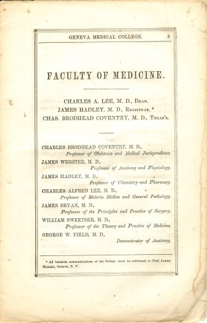 Page 5 of Circular of the Medical Institution of Geneva College, detailing the faculty of the Medical Institution of Geneva College.
