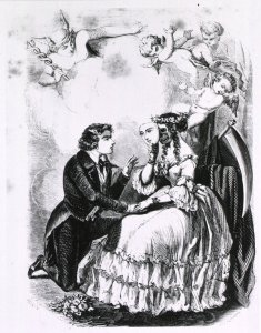 A man kneels at the feet of a woman holding a beautiful mask over a skeletal face while cupids look on.