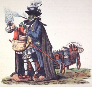 A man is wearing and carrying various protective measures against cholera, from a steaming pot on his head, to a face mask, to large protective devices for his feet.