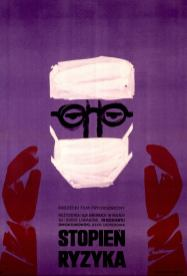 A poster in polish illustrated with an abstract image of a surgeon in cap and mask.