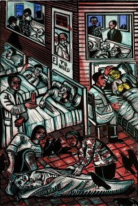 A cubist style drawing doctors caring for patients in different kinds of spaces including an enclosed TB ward were doctors wear masks.