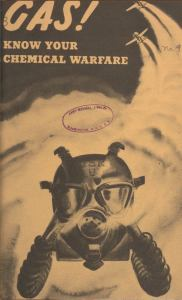 A gasmask in a plume of smoke left behid two airplanes.