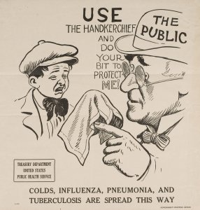"""An older man in a bowler hat labeled """"The Public"""" points to a hankerchief as a young boy prepares to sneeze."""