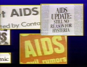 A collage of headlines about AIDS including AIDS Update: Still No Reason for Hysteria.