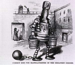 An illustration depicting a bottle of rum with an unhappy face dressed in a striped prison uniform and wearing a ball and chain.
