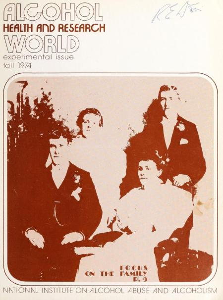 "A cover of the journal Alcohol Health and Research World, featuring a sepia photo of a family of four, with the tagline at the bottom, ""Focus on the Family."""