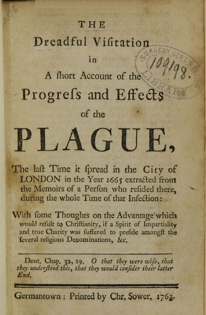 Title page of a printed book about the progress and effects of the plague.