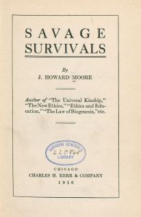 Title page of Savage Survivals with Library stamp.