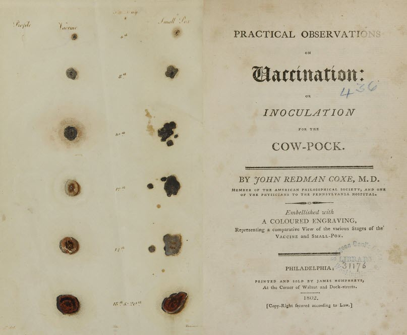 Title page of Practical Observations on Vaccination with illutrations of the marks of vaccination and Smallpox over a month's time.