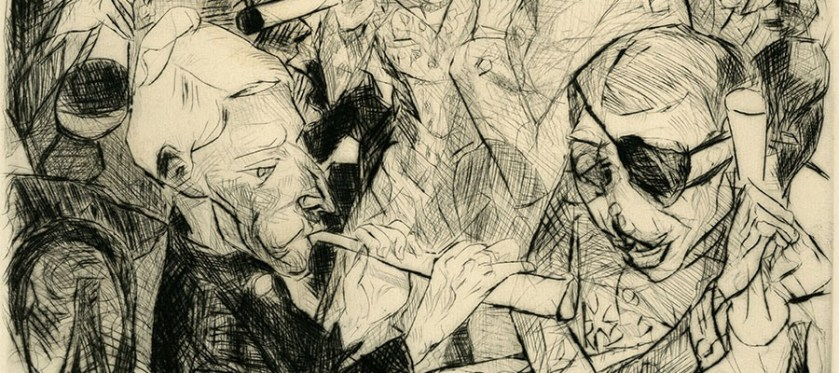 Detail from an etching of figures blowing horns, one wears an eyepatch.