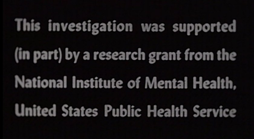 Text from a film citing a grant from NIMH.