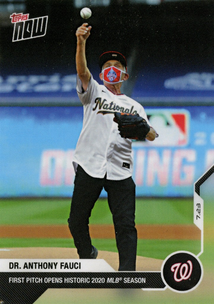 A Topps baseball card with a photo of Dr. Anthony Fauci in a nationals jersey and mask throwing a baseball.