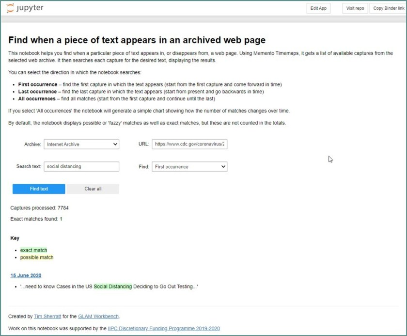 A screenshot of a tool that locates specific phrases in webpage text accross time.