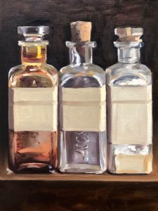 A painting of three square glass medicine bottles with corks and blank labels.