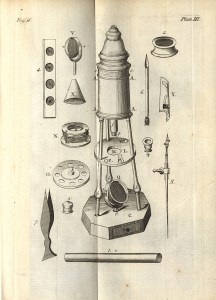 Drawing of a microscope and its individual parts