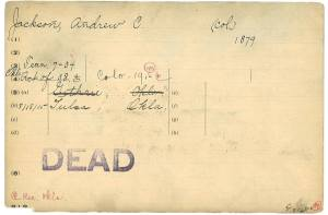 Index card, written, with a list of locations and stamped DEAD.