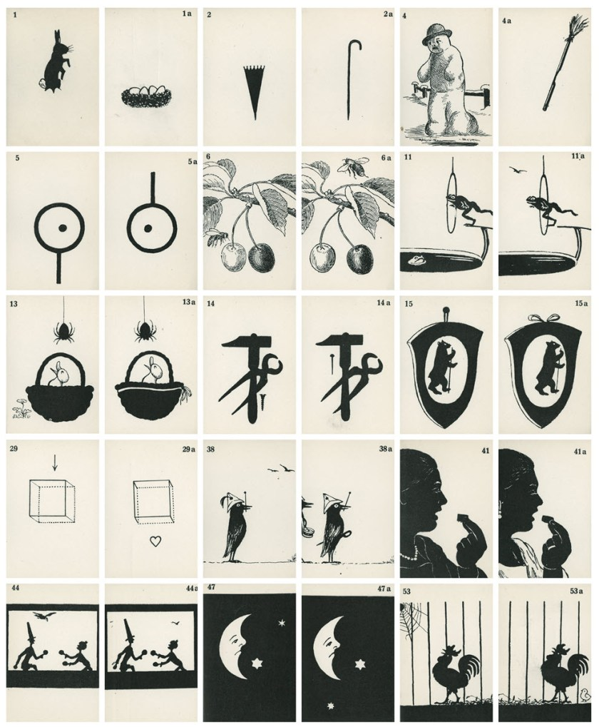 Fifteen pairs of cards with separated and complimentary pictures of fruit, figures, animals, and shapes.