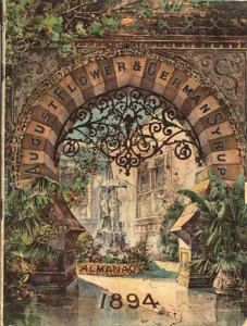 An illustration of a view of a fountain in a courtyard through an arch in an ivy covered wall.