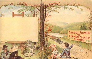 The full front and back cover of an almanac featuring a rustic scene with a painter, a picnic, a dog and a train in the countryside.
