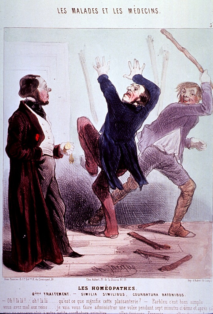 Illustration of a white being beaten with a stick by another white man, while a third a third times the beatings
