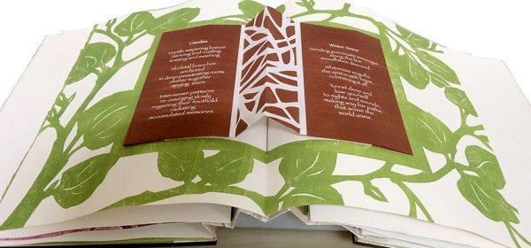 """Inside spread showing poems, part of artist book, """"Caudex Folium"""""""