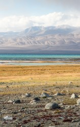 The view out of our window. Karakul (black lake. Not so black to me :)