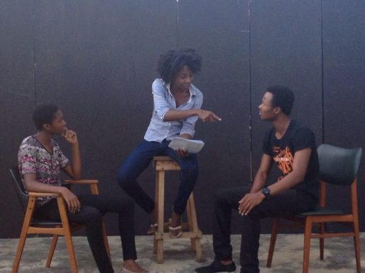 Director Emelia Asiedu & actors Ophelia Dzidornu & Andy Tettey during rehearsals