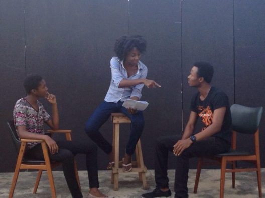 Director Emelia Asiedu & actors Ophelia Dzidornu & Andy Tettey during rehearsals