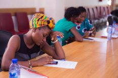 Women entrepreneurs going through a practical session on digital skills , e-commerce and social media tools at DGBizWomen training. Organized by Circumspecte and One Baobab, led by Jemila Abdulai and Naa Oyoo Quartey, with Facilitation by Efo Dela.