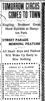 Newspaper clipping: Tomorrow Circus Comes to Town