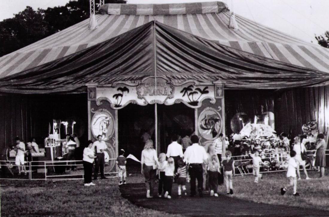 black and white photo of circus flora tent