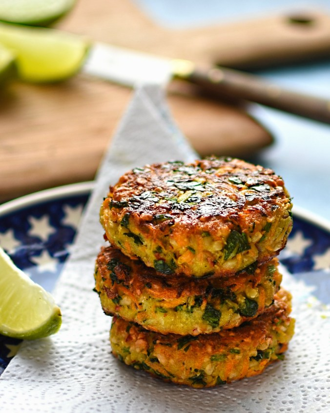 vegetarian carrot, cashew and coriander fritters