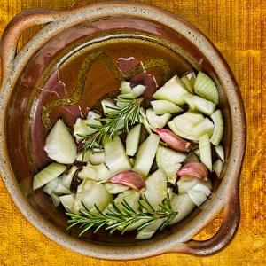 onions, garlic and rosemary