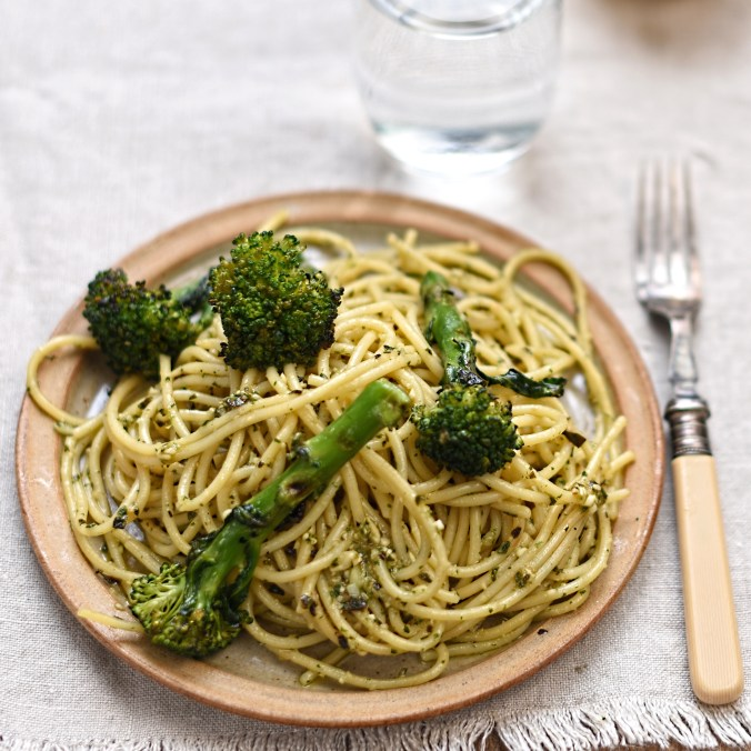 chargrilled broccoli and spaghetti with basil and lemon pesto