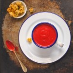 beetroot and horseradish soup with caraway and thyme croutons