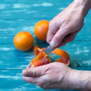 peeling a blood orange