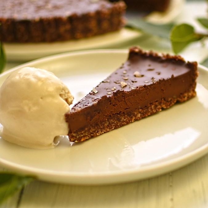 chocolate and salt caramel tart with bay leaf ice cream