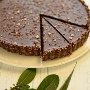 sliced chocolate and salt caramel tart