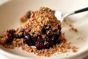 vegan and gluten free blueberry crumble with blackberries