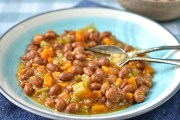 vegan cassoulet of borlotti beans, carrots and celery