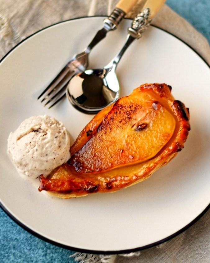 individual pear tatin with cinnamon ice cream