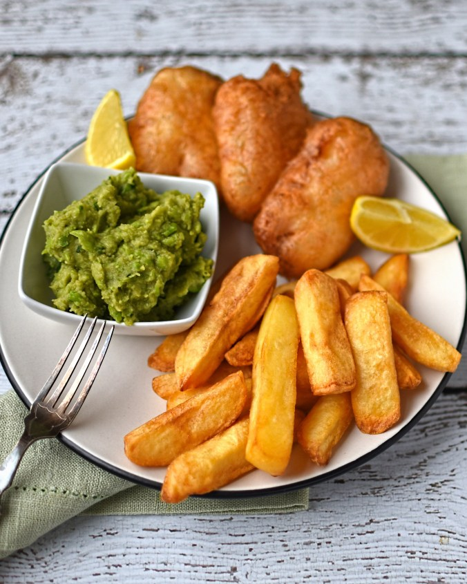 beer-battered-halloumi-with-chips-and-mushy-peas
